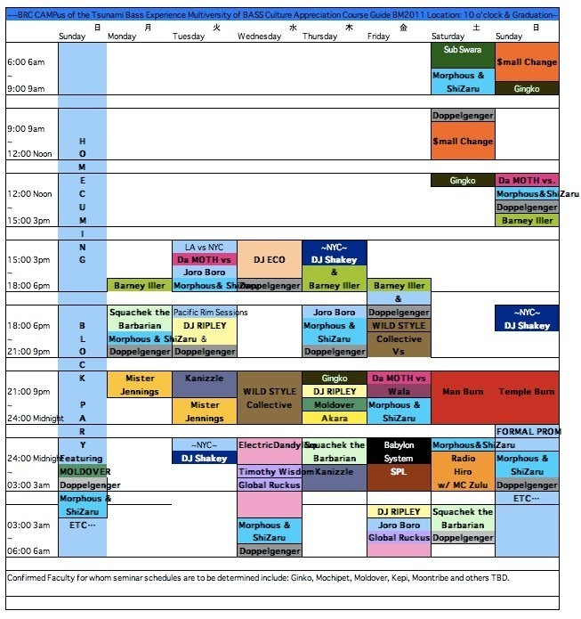 Schedule of international, national and local area talent slated to spin the TBE ~WaVe~ at Burning Man 2011.