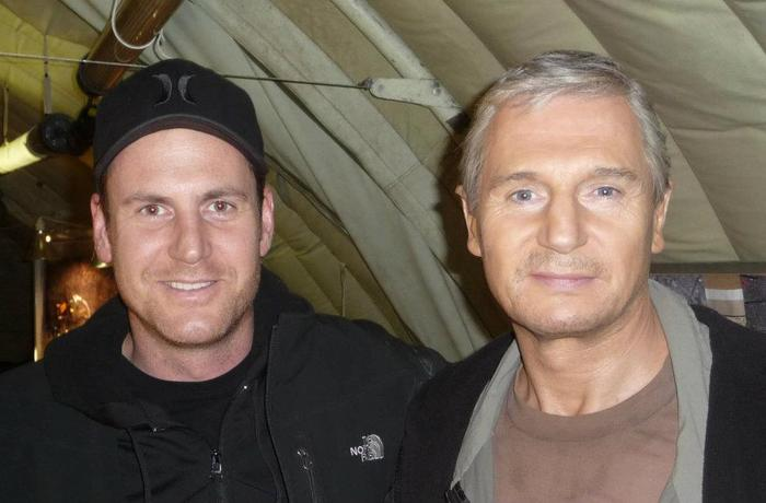 On a break during the filming of The A-Team with Liam Neeson, a class act all around and wonderful actor.