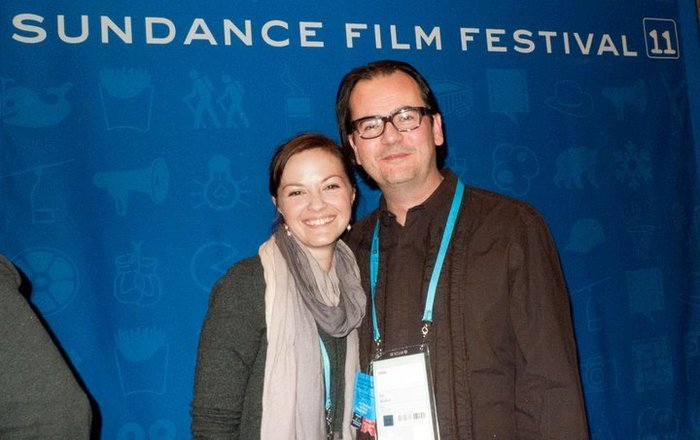 Soma Helmi with Life in A Day editor, Joe Walker, during a Press Junket for the film at Sundance.