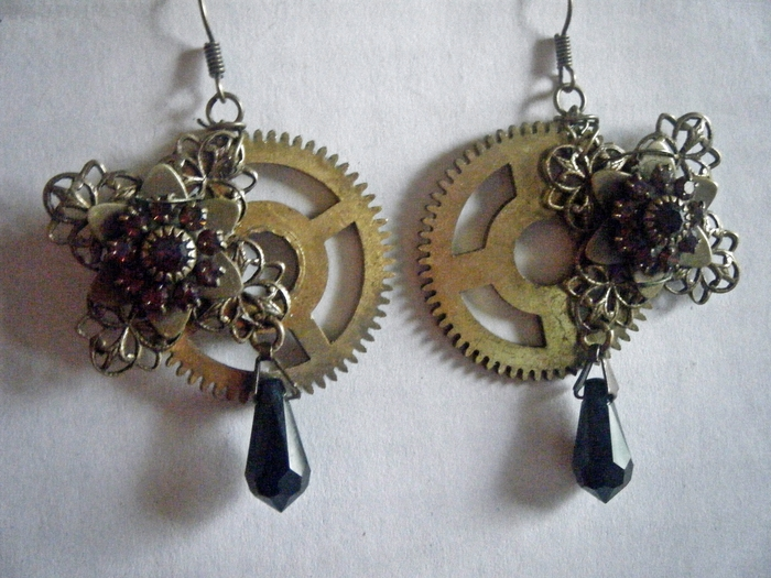 Sold Example of Clock Cogs and Vintage Earrings Creating something Beautiful.
