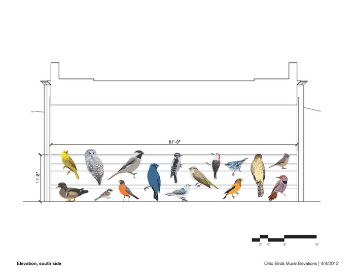 Drawing of one side of the underpass, 60 ft (w) x 12 ft (h)