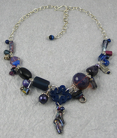 Violet Color Collage Necklace