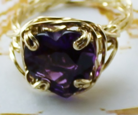 Amethyst Heart Gemstone Artisan Twisted Band Ring 14k Gold gf
