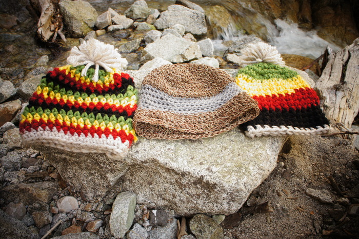 Your choice of one of the rasta styles and the hemp for the $95 pledge.
