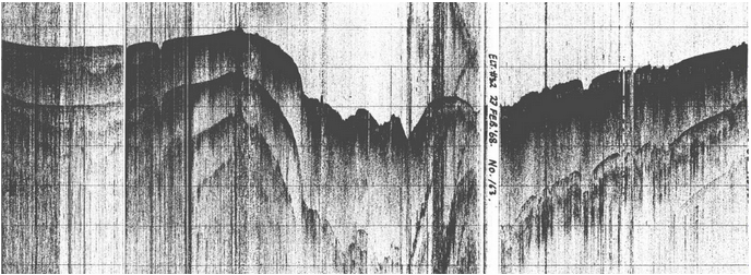 Single Channel Seismic Reflection, ELT32, from West Antarctic submarine terrain, 1968. Kindly provided by GeoMap App, Lamont-Doherty Earth Observatory of Columbia University.