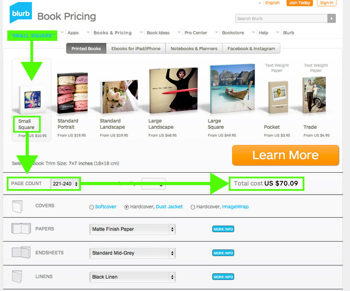 "blurb-book pricing: ""small square"" size screenshot from ""BLURB"" site"