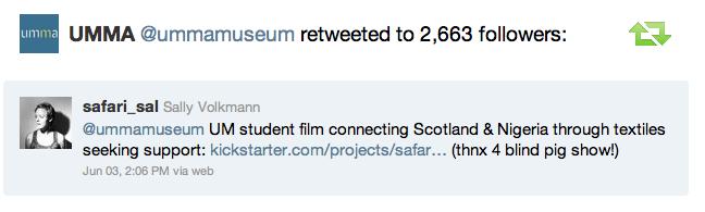 UMMA (University of Michigan Museum of Art) retweeted my project!