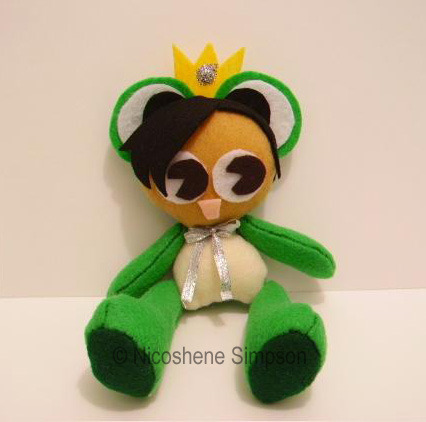 Example of a handsewn plush doll, which is available with the corresponding pledge amount.
