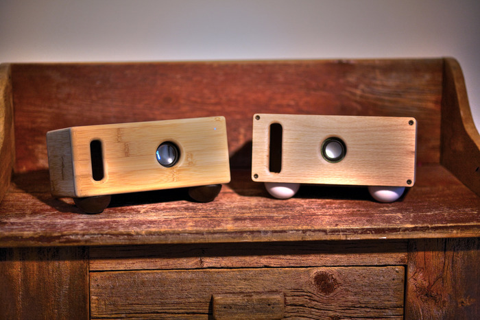 Our bamboo and Oak Speaker Prototypes
