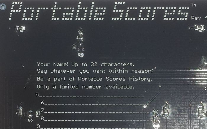 This is the back of the circuit board. You could have your name on every scoreboard made. How awesome is that?