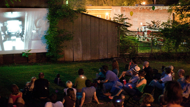 A backyard Vittles screening in Hillsborough, North Carolina.
