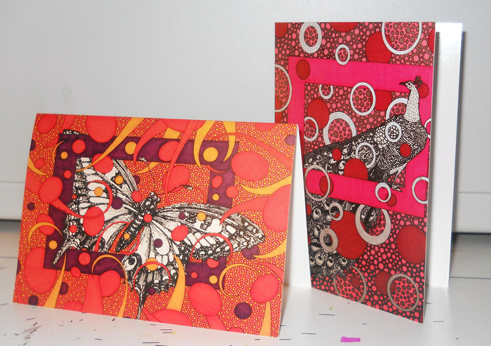 "3,5"" x 5"" note cards. butterfly & peacock"