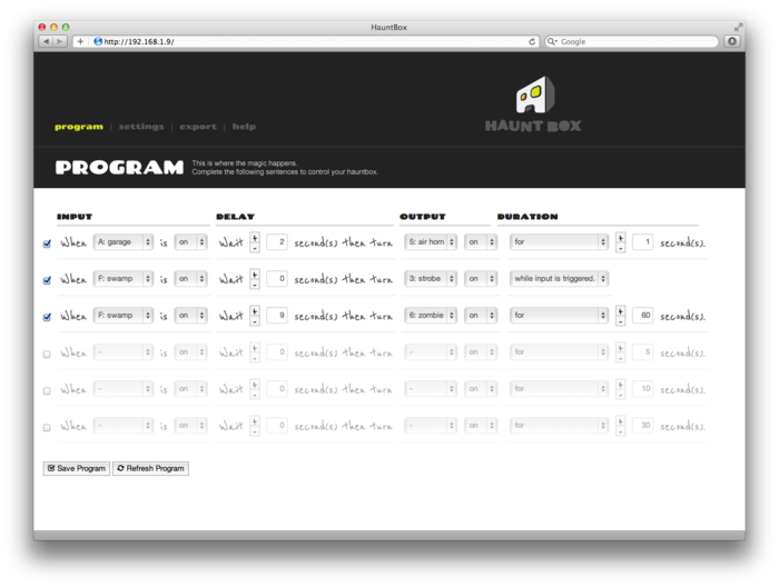 the program page