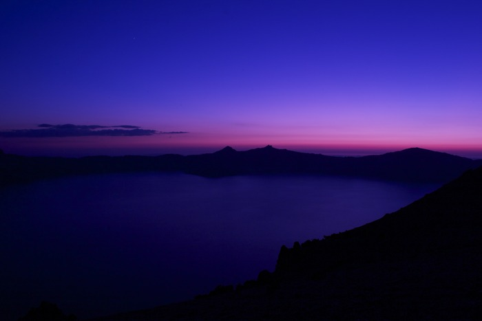 Crater Lake at sunset.