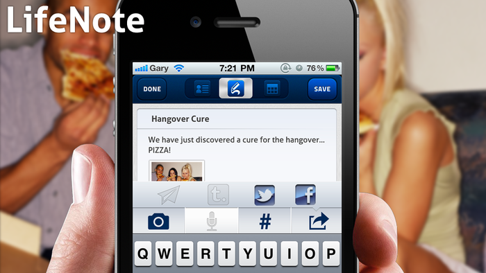 LifeNotes - with text+photo+video+voice memos and searchable #hashtags.