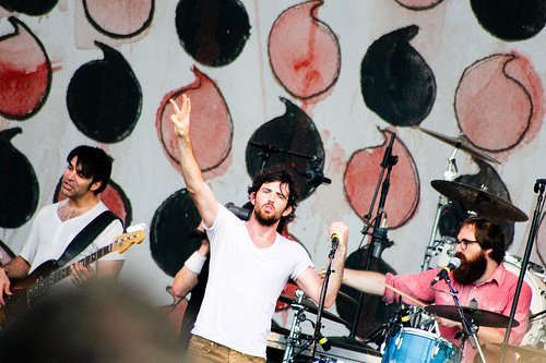 On drums with The Avett Brothers at Bonnaroo 2010