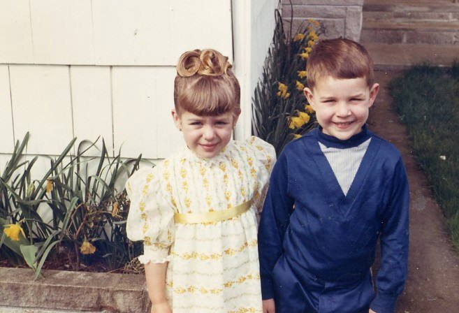 Filmmaker Sandra Luckow with brother Duanne Luckow circa 1969, Aberdeen Washington.
