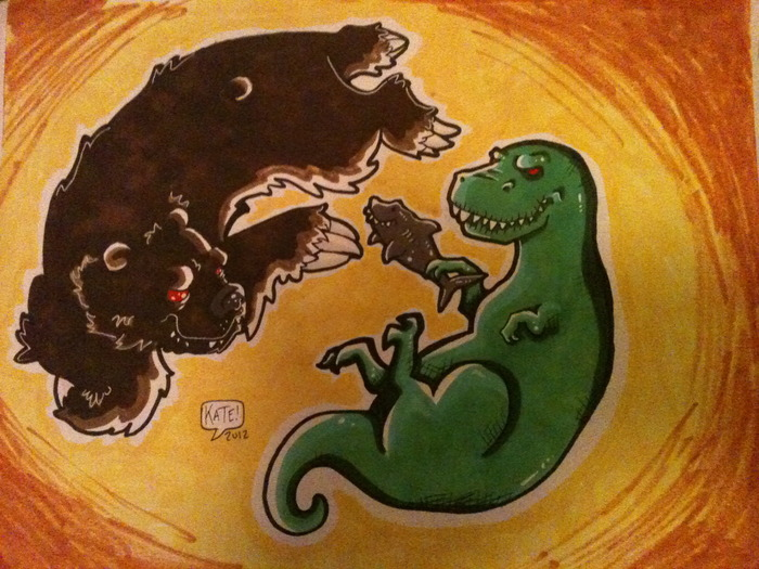 T-Rex fighting a Bear with a shark as a word. (large 8.5x11)