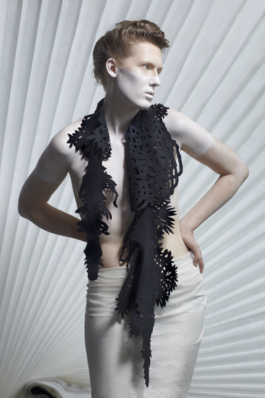 Hanging Garden in Ink Scarf by Eko-Lab and Jennifer Wen Ma. Don't worry, the white body paint is for the model only, not for your styling session--unless you request it!