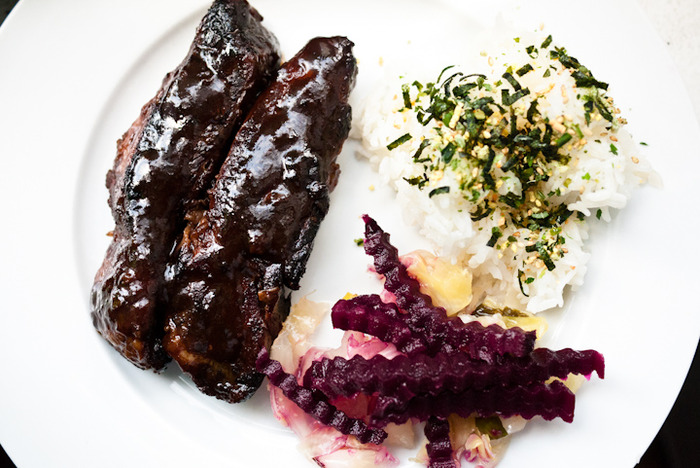 Sweet and sticky sous vide ribs.