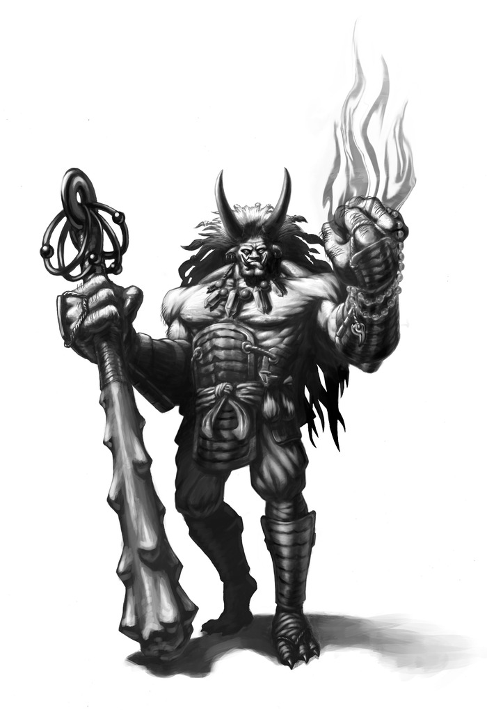 Oni Mage miniature concept art