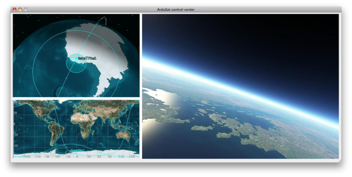 A mock up of the web interface, showing you the current location of ArduSat and what its cameras can 'see'.