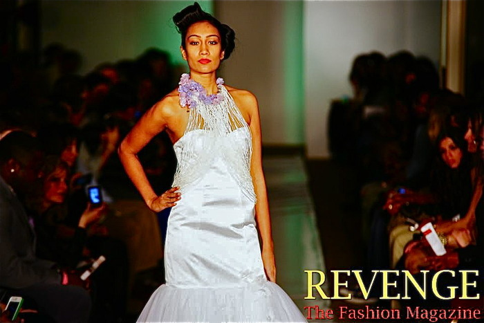 Splendor pearl and bead halter with organza fabric petals, gown by Britini Brocker-BBG Couture, NY Fashion Week Feb 2012 Photo credit: Revenge-The Fashion Magazine