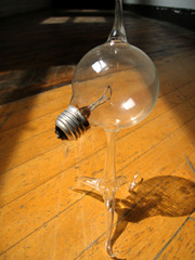 blown-glass lightbulb desktop sculpture