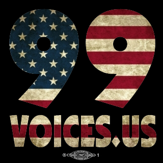 The Official '99Voices.US' Bumper Sticker (four inches square on vinyl)
