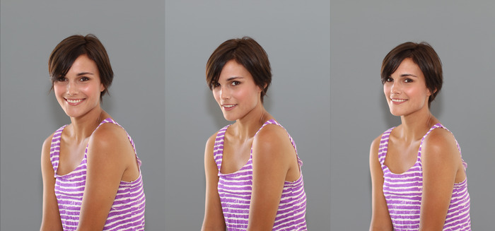 "Color Temperature Test against 18% grey wall.  Left: competitor GF, Center: competitor STO, Right: FlashPipe.  Model is about 12"" from wall.  All settings the same. I prefer the slightly warmer look of the left and right photos."