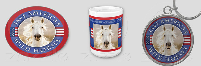 """Save America's Wild Horses"" decal, coffee mug, key chain"