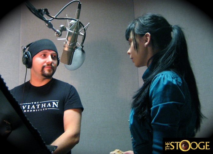Actors Adam Royce Sonnet and Elle Sonnet at recording session.