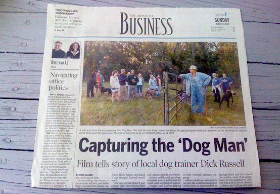 Capturing the 'Dog Man' - The Advocate (Business Section Cover Article)