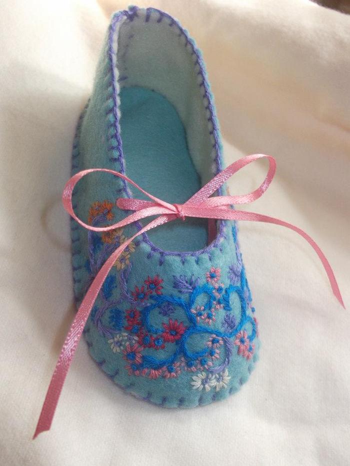 Blue Felt with Custom Flowered Pattern