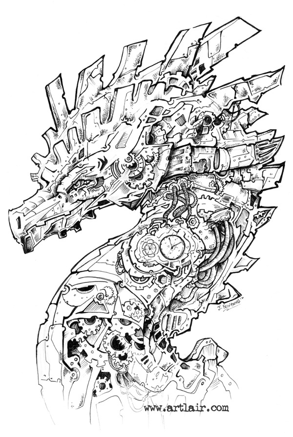Example of detailed pen & ink clockwork drawing.
