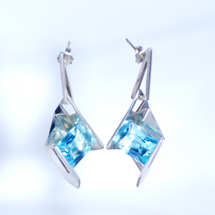 Fireworks Earrings with Blue Topaz