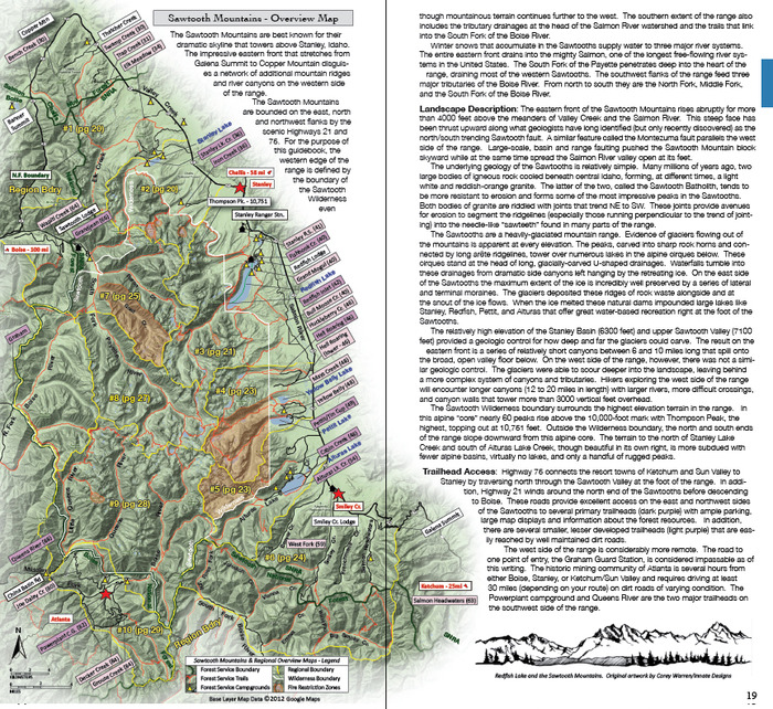 Sawtooths Mountains overview map (page 18-19)