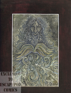"""Horror"" Print: The Mythic Beard of Alan Moore- by Kelly Kotulak"