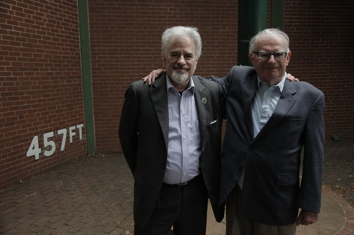 Dock's agent Tom Reich and his brother, attorney Sam Reich in front of the Forbes Field wall. The two men spent many years on the side of professional athletes in their labor causes and broke owner collusion in baseball.