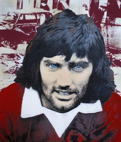 George Best - mixed media on wood