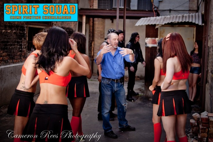 Director Thom Rockwell with the cast of Spirit Squad during the production of the trailer.