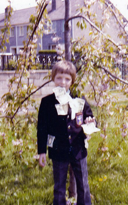 That's me on my Communion Day, aged 7, May 1975.  You get the idea.