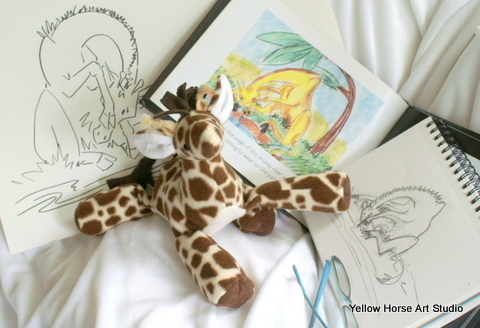 "original ""Giraffe"" book, sketches, and giraffe plush"