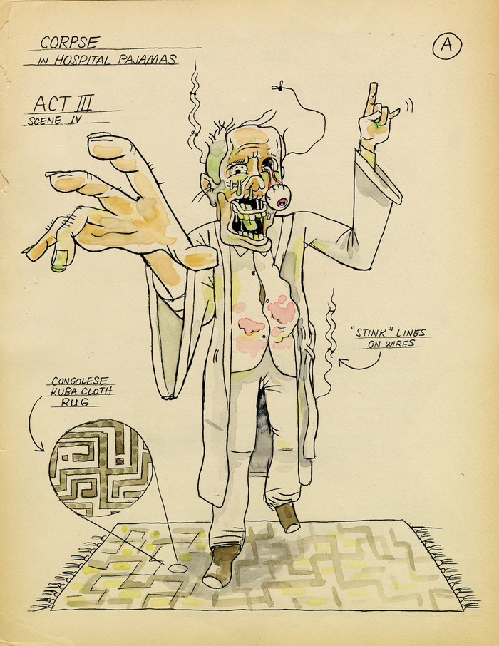Production sketch A of the corpse of Francis Wayland Thurston (Act 3).