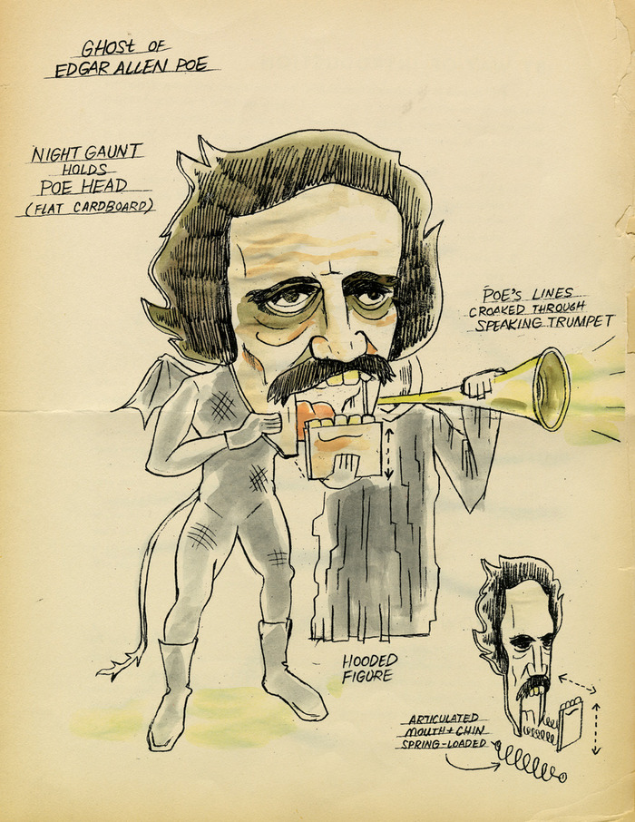 Production sketch of the ghost of Edgar Allan Poe.