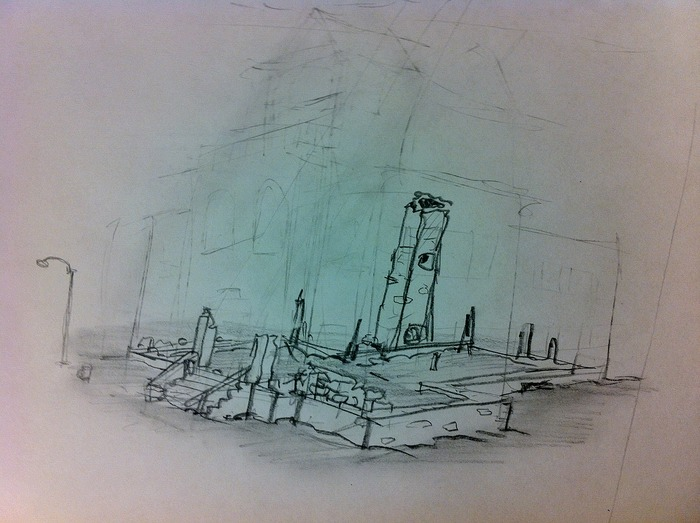 """Dunwich Armory Sketch #11, Looking Northeast from Marker 327"" 2011, grease pencil on plastic board, 8"" x 11"""