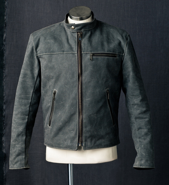 Racer Jacket in gray waxed canvas