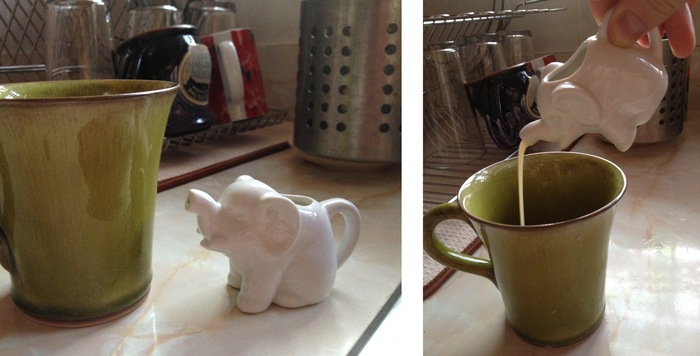 "Little Elephant Creamer – ""at rest"" and ""in action""!"