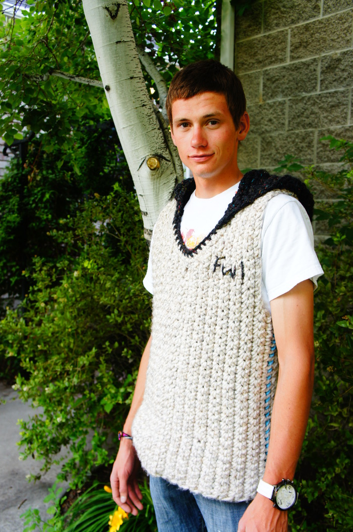 Custom Crocheted Sleeveless hoodie. With hood. You get this with a $300 Pledge.