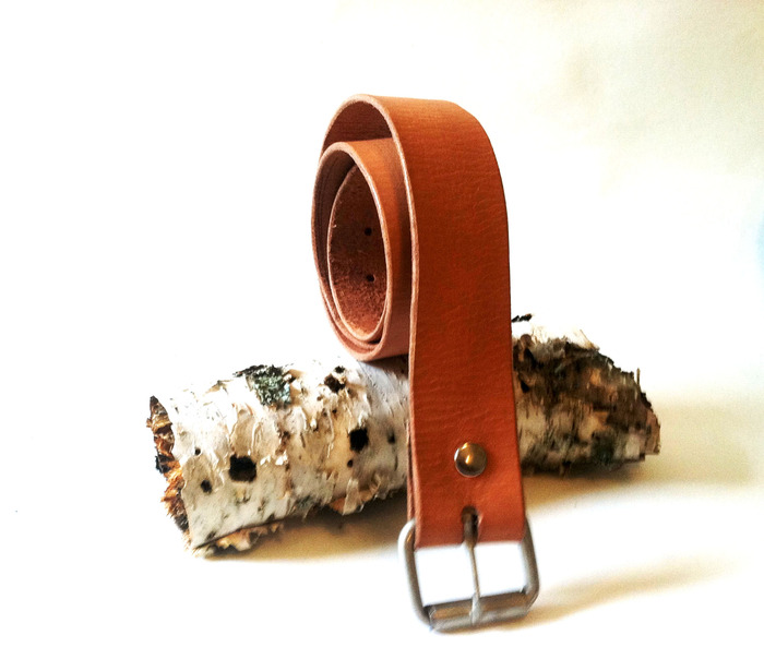Leather Belt with Removable Buckle